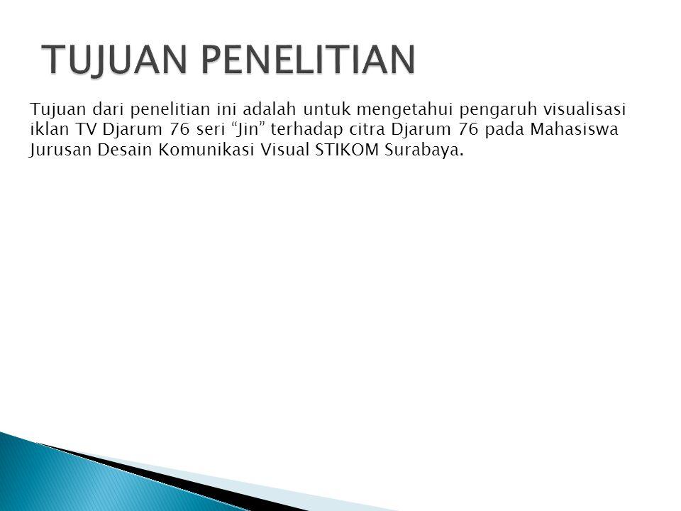 """Tujuan dari penelitian ini adalah untuk mengetahui pengaruh visualisasi iklan TV Djarum 76 seri """"Jin"""" terhadap citra Djarum 76 pada Mahasiswa Jurusan"""