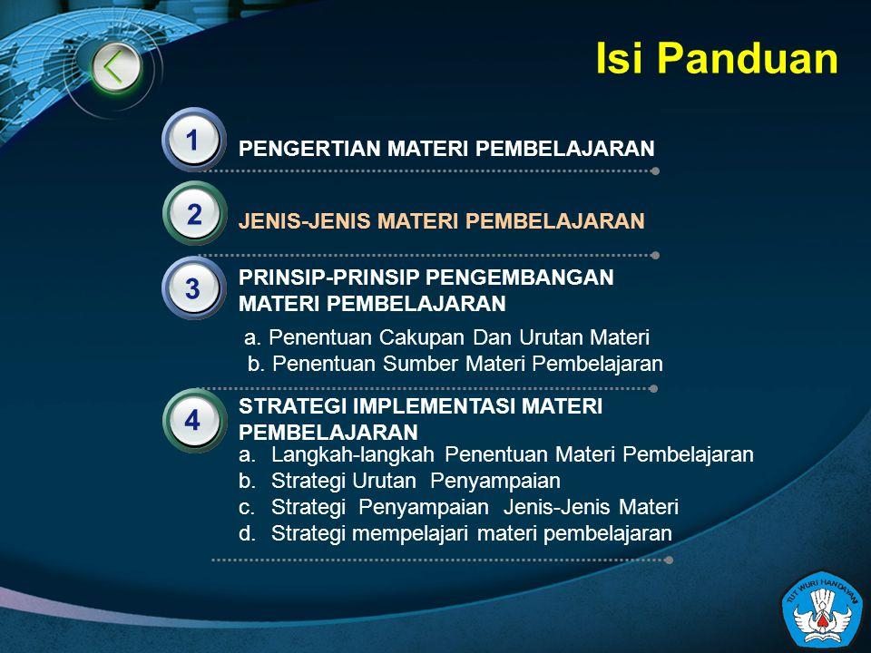 Isi Panduan PENGERTIAN MATERI PEMBELAJARAN 1 JENIS-JENIS MATERI PEMBELAJARAN PRINSIP-PRINSIP PENGEMBANGAN MATERI PEMBELAJARAN 2 3 4 STRATEGI IMPLEMENT