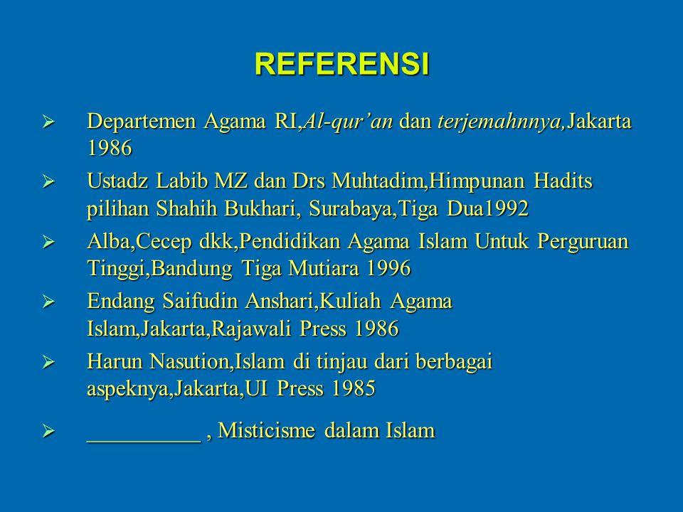REFERENSI  Departemen Agama RI,Al-qur'an dan terjemahnnya,Jakarta 1986  Ustadz Labib MZ dan Drs Muhtadim,Himpunan Hadits pilihan Shahih Bukhari, Sur