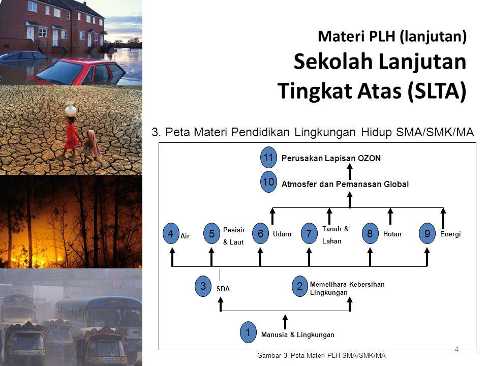 Materi PLH (lanjutan) Sekolah Lanjutan Tingkat Atas (SLTA) 4 3. Peta Materi Pendidikan Lingkungan Hidup SMA/SMK/MA Gambar 3, Peta Materi PLH SMA/SMK/M