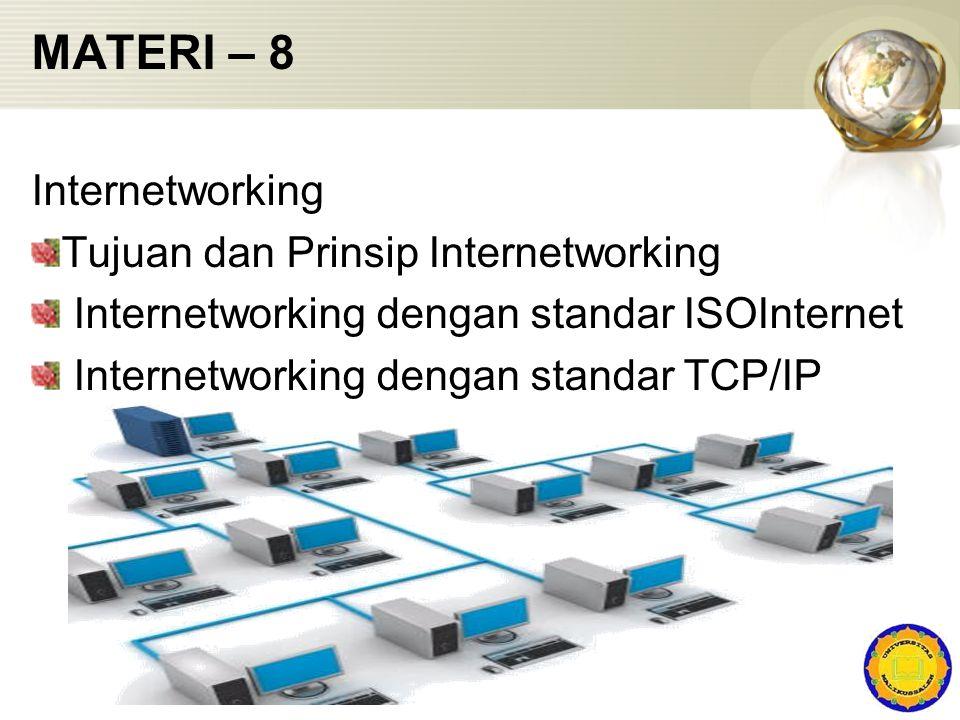 MATERI – 8 Internetworking Tujuan dan Prinsip Internetworking Internetworking dengan standar ISOInternet Internetworking dengan standar TCP/IP
