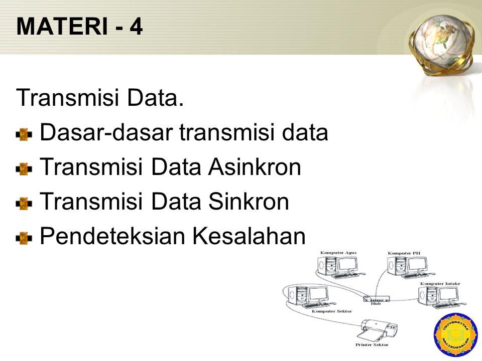 MATERI - 4 Transmisi Data. Dasar-dasar transmisi data Transmisi Data Asinkron Transmisi Data Sinkron Pendeteksian Kesalahan
