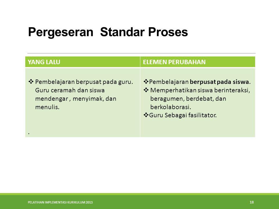 PELATIHAN IMPLEMENTASI KURIKULUM 2013 17 Pergeseran dalam Standar Isi Pembelajaran di kelas masing-masing berdiri sendiri (parsial) TIK merupakan sala