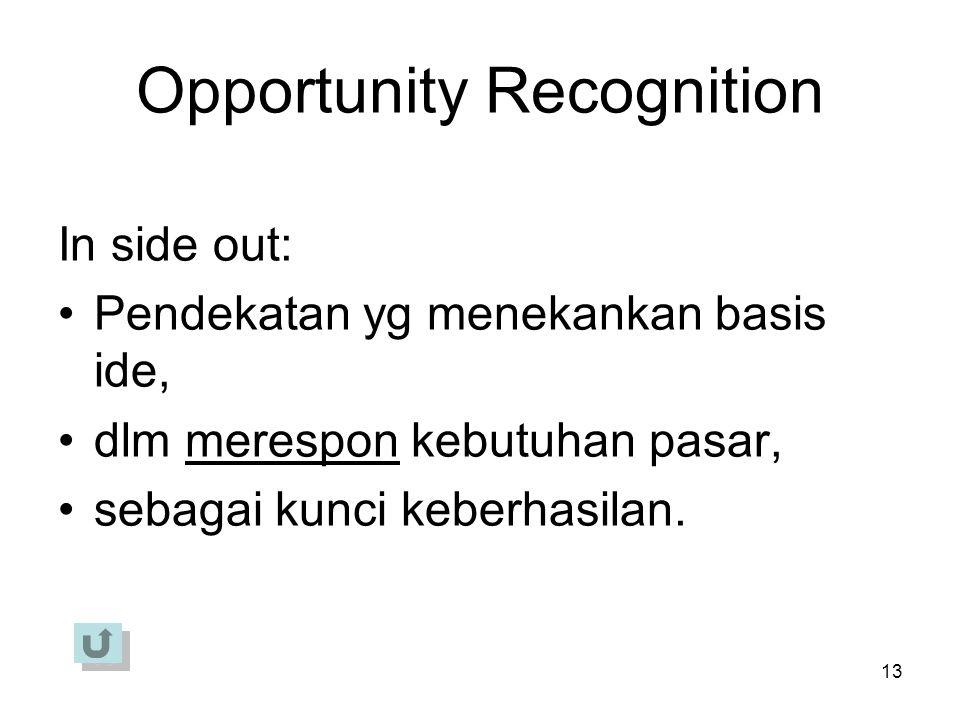 13 Opportunity Recognition In side out: Pendekatan yg menekankan basis ide, dlm merespon kebutuhan pasar, sebagai kunci keberhasilan.