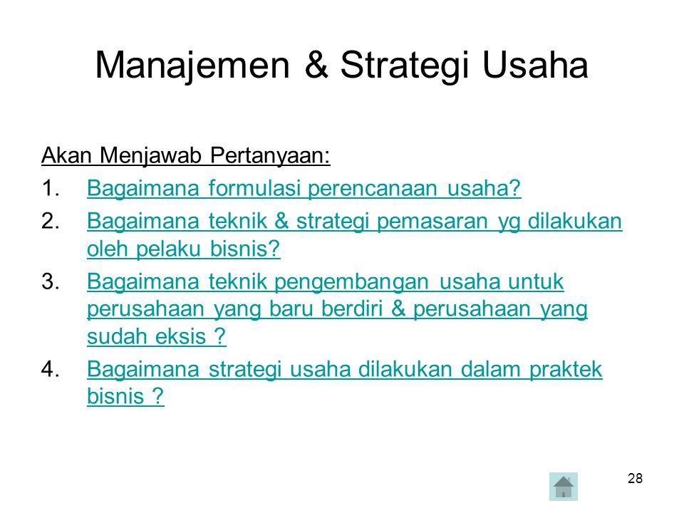 28 Manajemen & Strategi Usaha Akan Menjawab Pertanyaan: 1.Bagaimana formulasi perencanaan usaha?Bagaimana formulasi perencanaan usaha? 2.Bagaimana tek