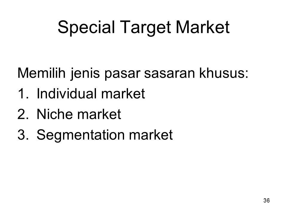 36 Special Target Market Memilih jenis pasar sasaran khusus: 1.Individual market 2.Niche market 3.Segmentation market
