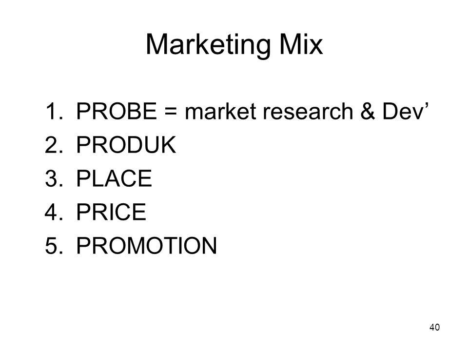 40 Marketing Mix 1.PROBE = market research & Dev' 2.PRODUK 3.PLACE 4.PRICE 5.PROMOTION