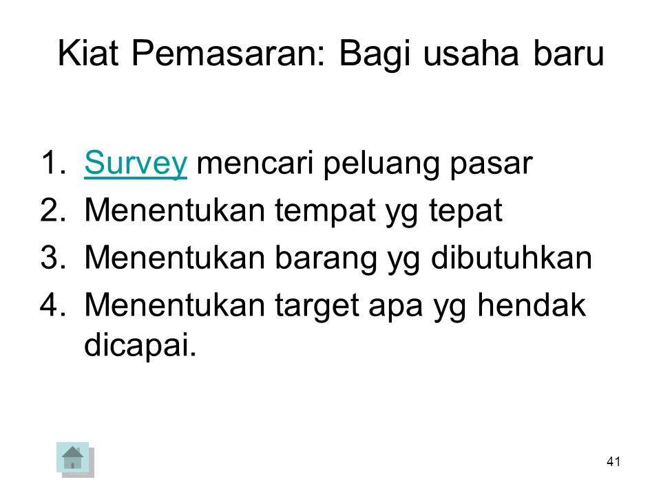 41 Kiat Pemasaran: Bagi usaha baru 1.Survey mencari peluang pasarSurvey 2.Menentukan tempat yg tepat 3.Menentukan barang yg dibutuhkan 4.Menentukan ta