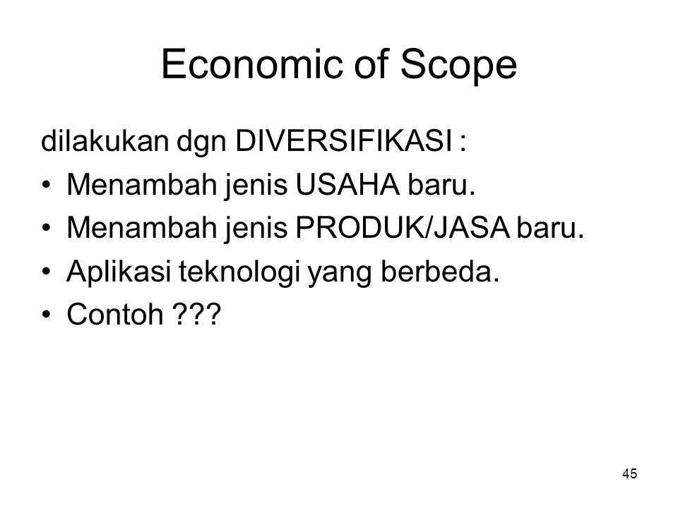 45 Economic of Scope dilakukan dgn DIVERSIFIKASI : Menambah jenis USAHA baru. Menambah jenis PRODUK/JASA baru. Aplikasi teknologi yang berbeda. Contoh