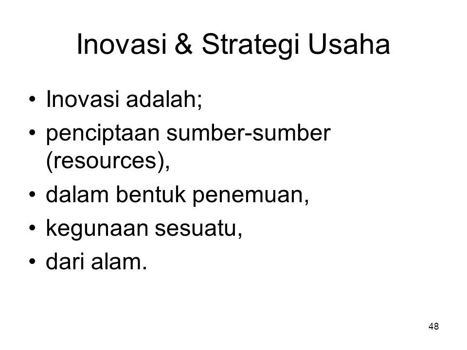 48 Inovasi & Strategi Usaha Inovasi adalah; penciptaan sumber-sumber (resources), dalam bentuk penemuan, kegunaan sesuatu, dari alam.