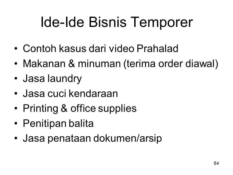 64 Ide-Ide Bisnis Temporer Contoh kasus dari video Prahalad Makanan & minuman (terima order diawal) Jasa laundry Jasa cuci kendaraan Printing & office