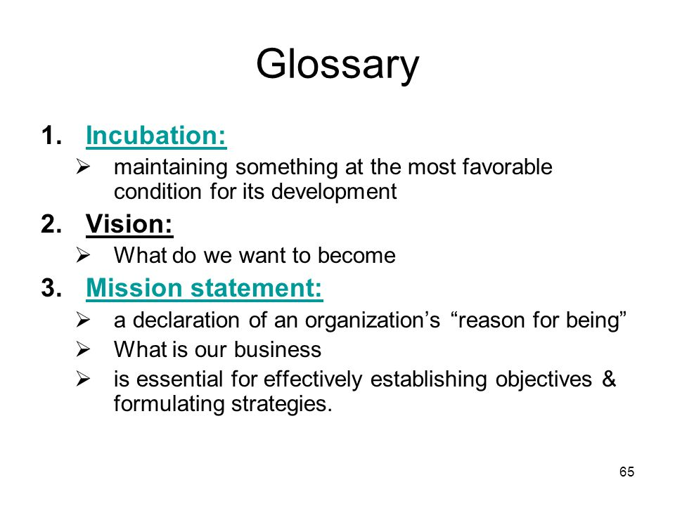 65 Glossary 1.Incubation:Incubation:  maintaining something at the most favorable condition for its development 2.Vision:  What do we want to become