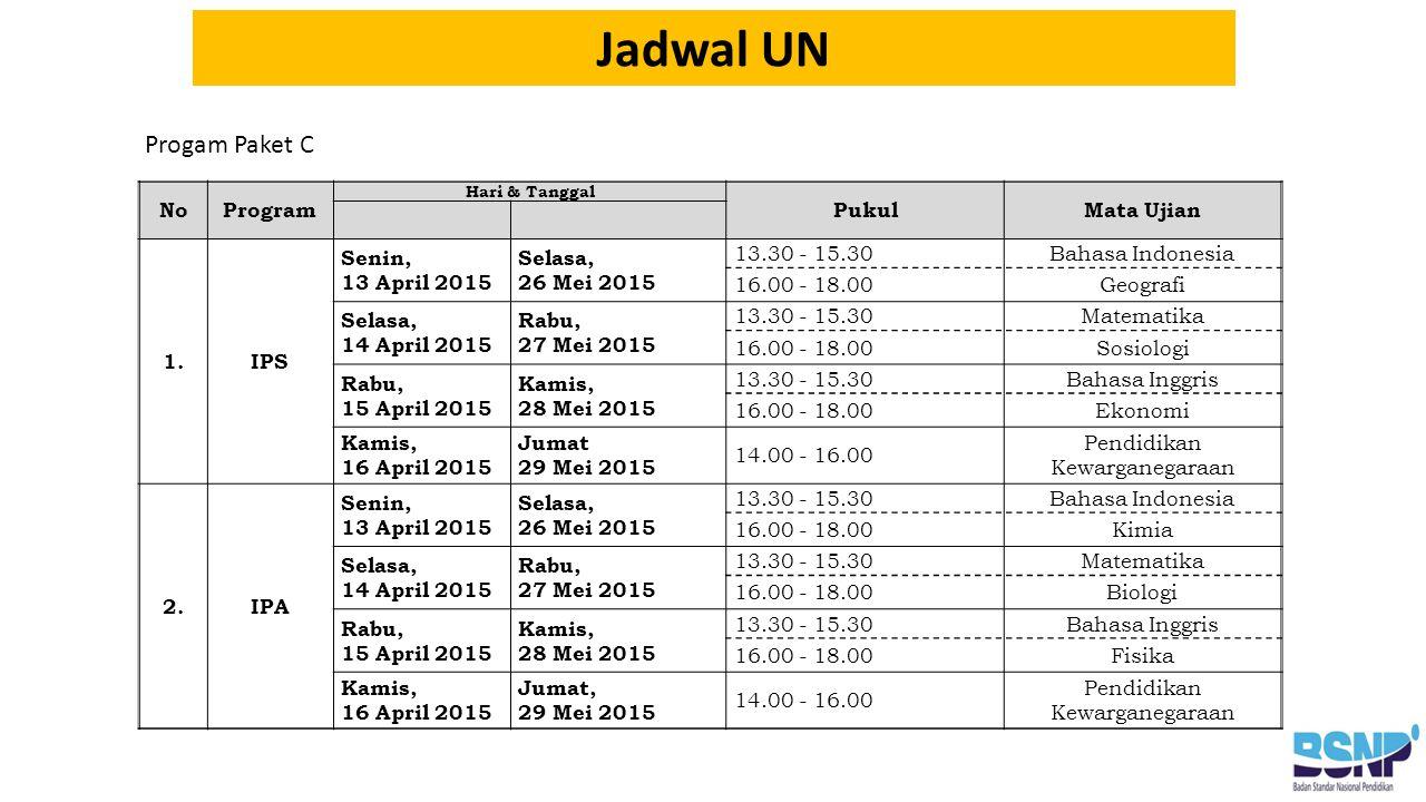 Progam Paket C Jadwal UN NoProgram Hari & Tanggal PukulMata Ujian 1.IPS Senin, 13 April 2015 Selasa, 26 Mei 2015 13.30 - 15.30Bahasa Indonesia 16.00 - 18.00Geografi Selasa, 14 April 2015 Rabu, 27 Mei 2015 13.30 - 15.30Matematika 16.00 - 18.00Sosiologi Rabu, 15 April 2015 Kamis, 28 Mei 2015 13.30 - 15.30Bahasa Inggris 16.00 - 18.00Ekonomi Kamis, 16 April 2015 Jumat 29 Mei 2015 14.00 - 16.00 Pendidikan Kewarganegaraan 2.IPA Senin, 13 April 2015 Selasa, 26 Mei 2015 13.30 - 15.30Bahasa Indonesia 16.00 - 18.00Kimia Selasa, 14 April 2015 Rabu, 27 Mei 2015 13.30 - 15.30Matematika 16.00 - 18.00Biologi Rabu, 15 April 2015 Kamis, 28 Mei 2015 13.30 - 15.30Bahasa Inggris 16.00 - 18.00Fisika Kamis, 16 April 2015 Jumat, 29 Mei 2015 14.00 - 16.00 Pendidikan Kewarganegaraan