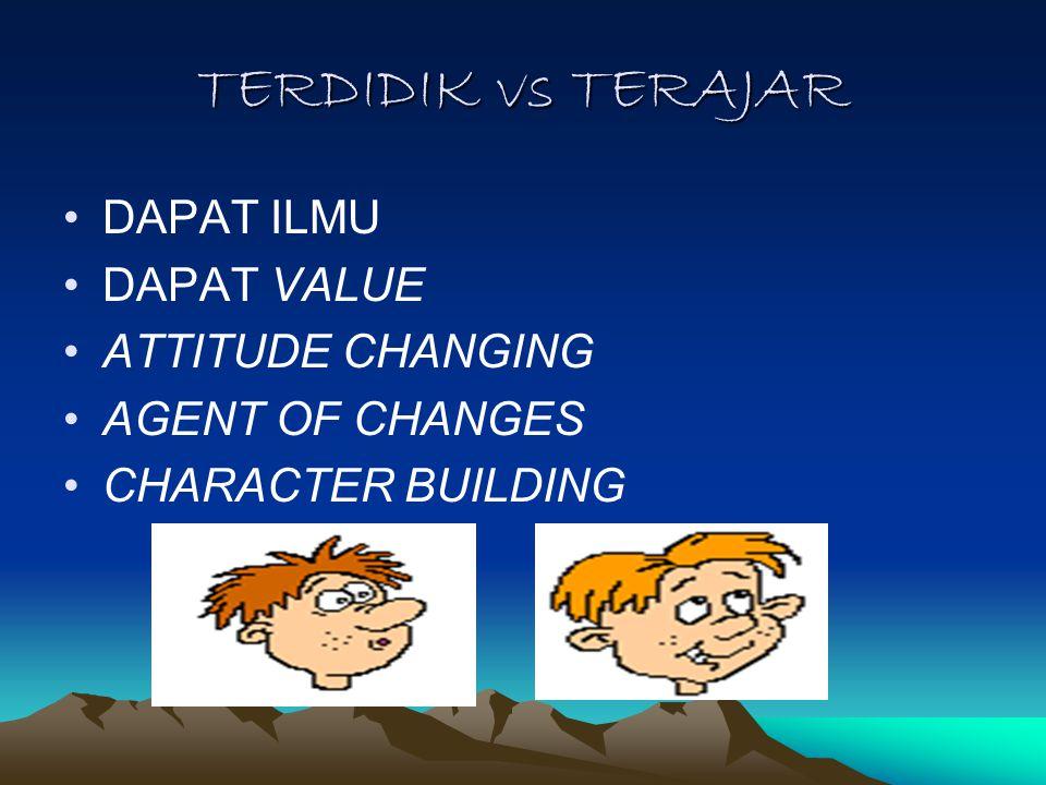 TERDIDIK vs TERAJAR DAPAT ILMU DAPAT VALUE ATTITUDE CHANGING AGENT OF CHANGES CHARACTER BUILDING