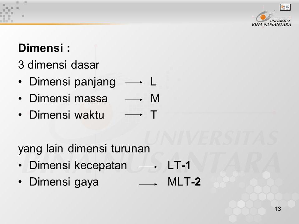 13 Dimensi : 3 dimensi dasar Dimensi panjang L Dimensi massa M Dimensi waktu T yang lain dimensi turunan Dimensi kecepatan LT-1 Dimensi gaya MLT-2