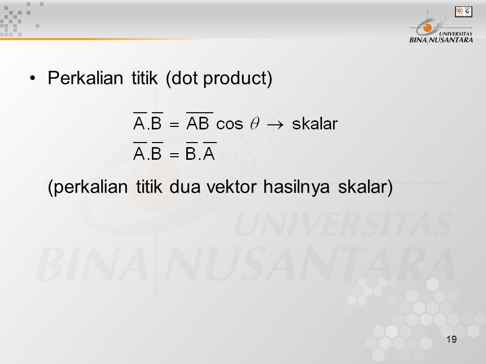 19 Perkalian titik (dot product) (perkalian titik dua vektor hasilnya skalar)