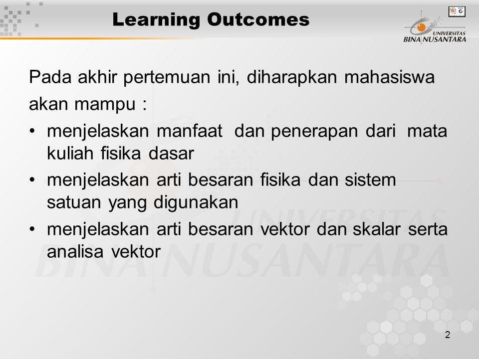 2 Learning Outcomes Pada akhir pertemuan ini, diharapkan mahasiswa akan mampu : menjelaskan manfaat dan penerapan dari mata kuliah fisika dasar menjel