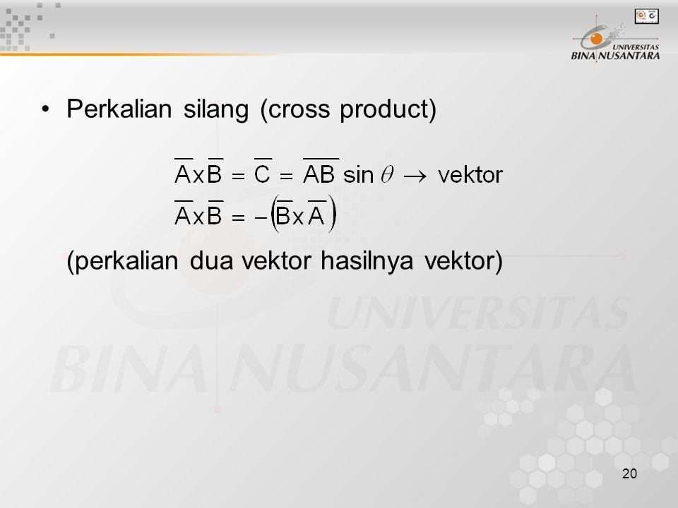 20 Perkalian silang (cross product) (perkalian dua vektor hasilnya vektor)