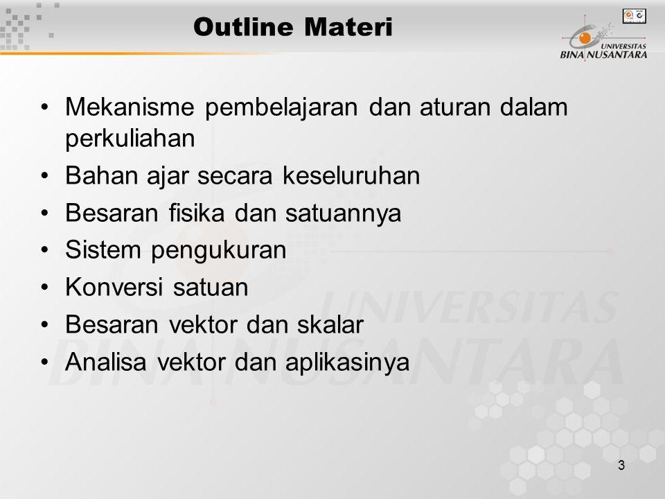 3 Outline Materi Mekanisme pembelajaran dan aturan dalam perkuliahan Bahan ajar secara keseluruhan Besaran fisika dan satuannya Sistem pengukuran Konv