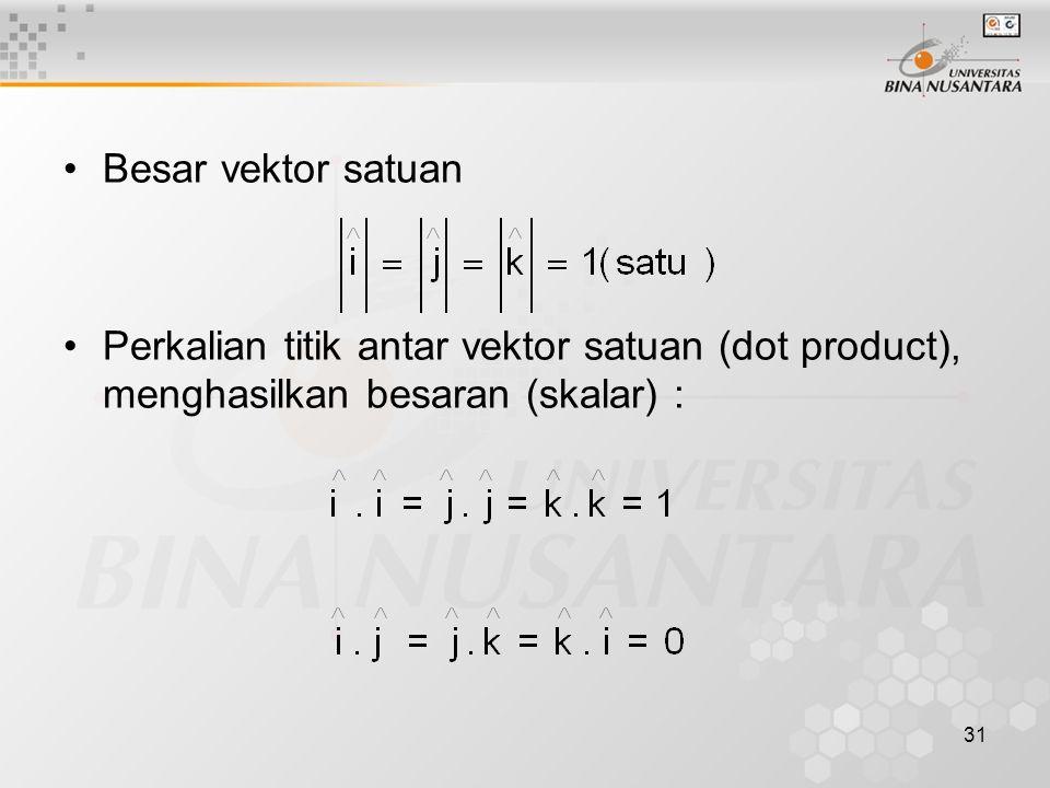 31 Besar vektor satuan Perkalian titik antar vektor satuan (dot product), menghasilkan besaran (skalar) :