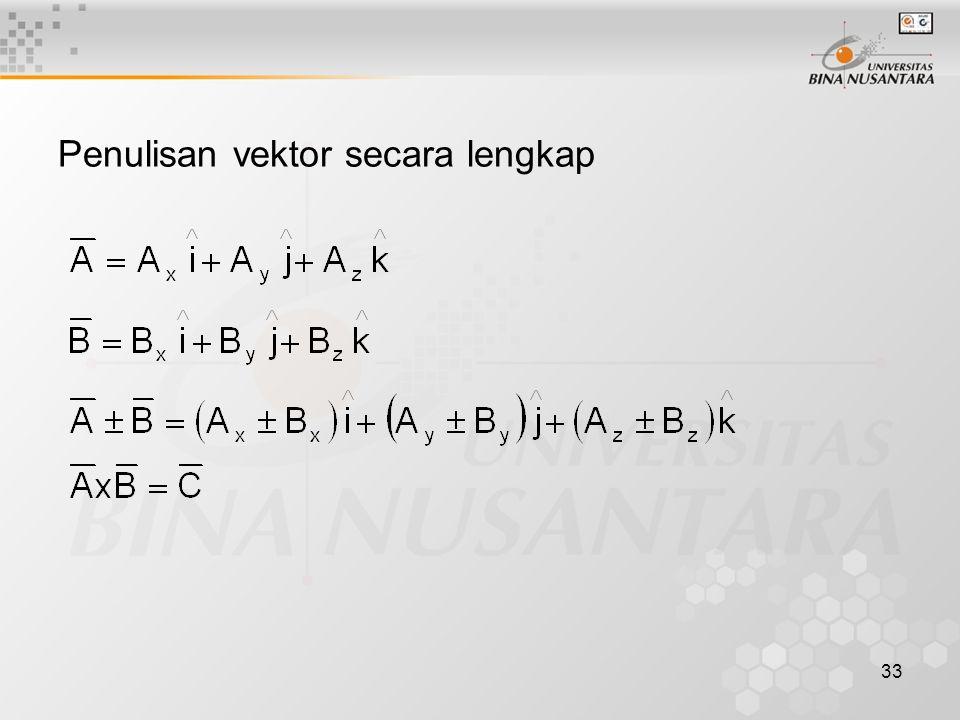 33 Penulisan vektor secara lengkap