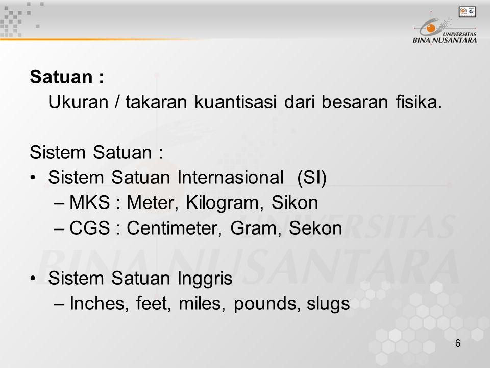 6 Satuan : Ukuran / takaran kuantisasi dari besaran fisika. Sistem Satuan : Sistem Satuan Internasional (SI) –MKS : Meter, Kilogram, Sikon –CGS : Cent