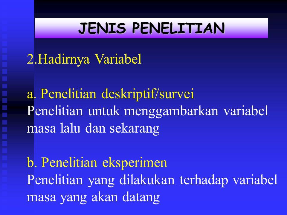 JENIS PENELITIAN Jenis penelitian 2.Hadirnya Variabel a.