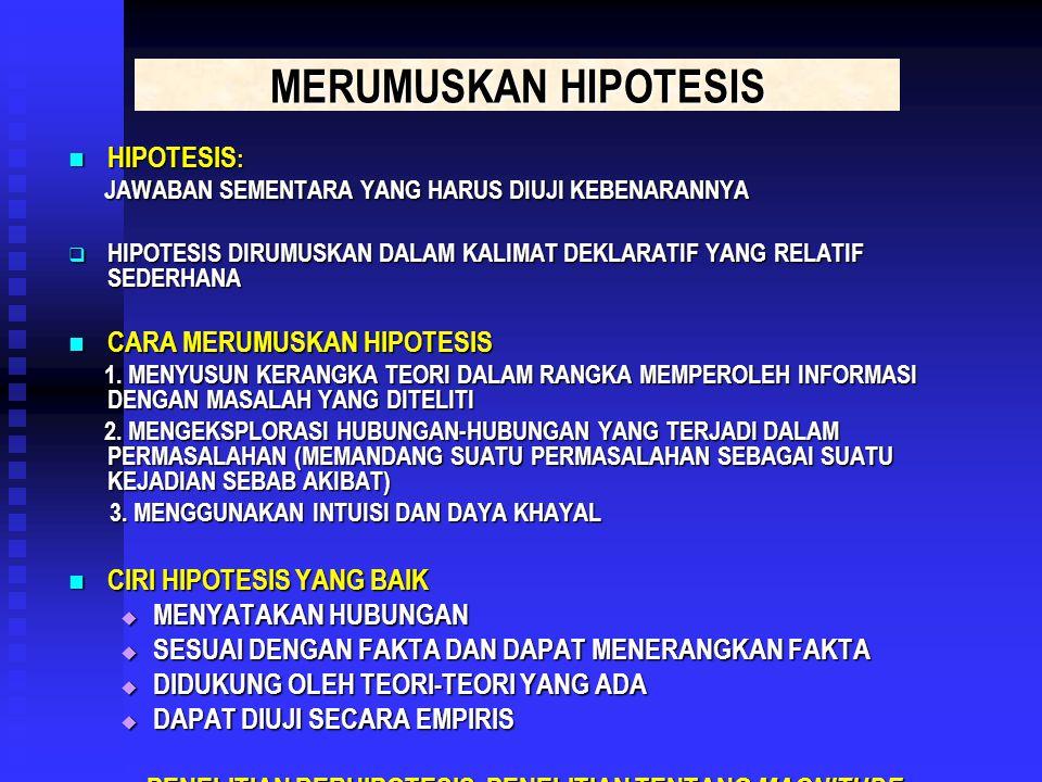 MERUMUSKAN HIPOTESIS HIPOTESIS : HIPOTESIS : JAWABAN SEMENTARA YANG HARUS DIUJI KEBENARANNYA JAWABAN SEMENTARA YANG HARUS DIUJI KEBENARANNYA  HIPOTESIS DIRUMUSKAN DALAM KALIMAT DEKLARATIF YANG RELATIF SEDERHANA CARA MERUMUSKAN HIPOTESIS CARA MERUMUSKAN HIPOTESIS 1.