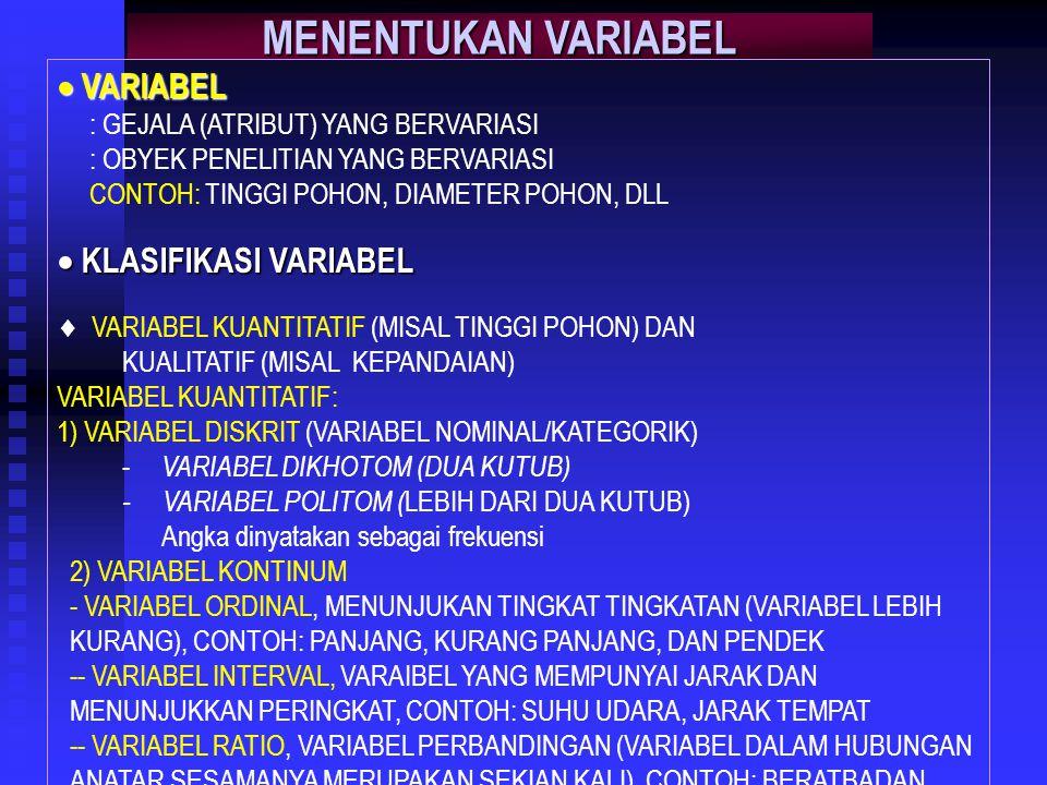 MENENTUKAN VARIABEL  VARIABEL : GEJALA (ATRIBUT) YANG BERVARIASI : OBYEK PENELITIAN YANG BERVARIASI CONTOH: TINGGI POHON, DIAMETER POHON, DLL  KLASIFIKASI VARIABEL  VARIABEL KUANTITATIF (MISAL TINGGI POHON) DAN KUALITATIF (MISAL KEPANDAIAN) VARIABEL KUANTITATIF: 1) VARIABEL DISKRIT (VARIABEL NOMINAL/KATEGORIK) - VARIABEL DIKHOTOM (DUA KUTUB) - VARIABEL POLITOM ( LEBIH DARI DUA KUTUB) Angka dinyatakan sebagai frekuensi 2) VARIABEL KONTINUM - VARIABEL ORDINAL, MENUNJUKAN TINGKAT TINGKATAN (VARIABEL LEBIH KURANG), CONTOH: PANJANG, KURANG PANJANG, DAN PENDEK -- VARIABEL INTERVAL, VARAIBEL YANG MEMPUNYAI JARAK DAN MENUNJUKKAN PERINGKAT, CONTOH: SUHU UDARA, JARAK TEMPAT -- VARIABEL RATIO, VARIABEL PERBANDINGAN (VARIABEL DALAM HUBUNGAN ANATAR SESAMANYA MERUPAKAN SEKIAN KALI), CONTOH: BERATBADAN  VARIABEL KUALITATIF, MISAL: KEPANDAIAN  VARIABEL TERIKAT DAN VARIABEL BEBAS, CONTOH: Y = f (X1, X2, X3)