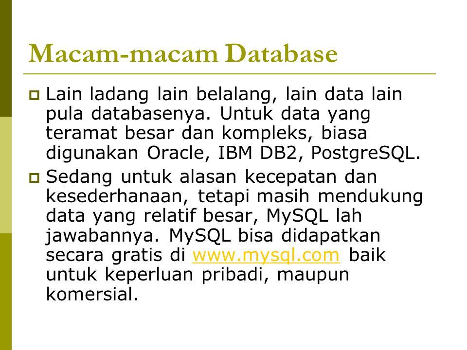 Macam-macam Database  Lain ladang lain belalang, lain data lain pula databasenya. Untuk data yang teramat besar dan kompleks, biasa digunakan Oracle,