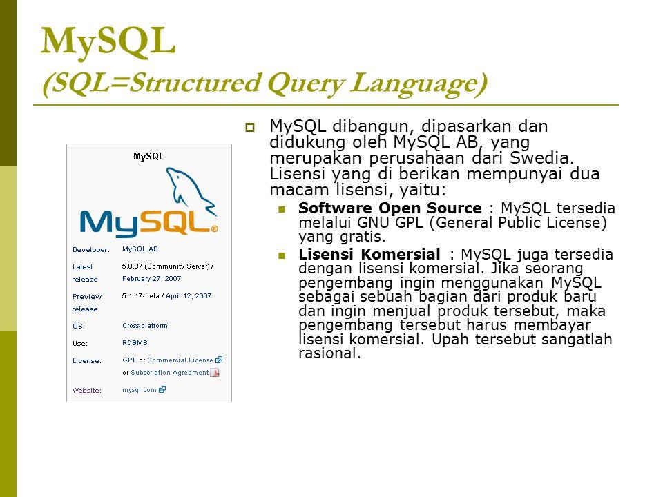 MySQL (SQL=Structured Query Language)  MySQL dibangun, dipasarkan dan didukung oleh MySQL AB, yang merupakan perusahaan dari Swedia. Lisensi yang di