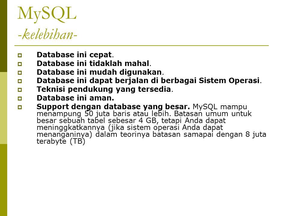 MySQL -kelebihan-  Database ini cepat.  Database ini tidaklah mahal.  Database ini mudah digunakan.  Database ini dapat berjalan di berbagai Siste