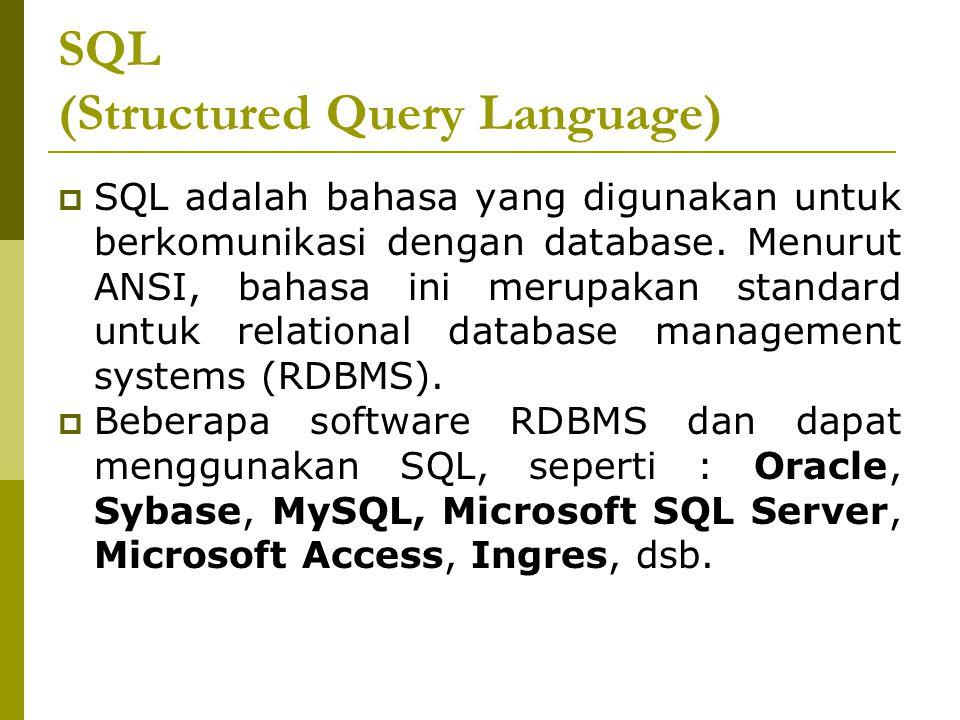 SQL (Structured Query Language)  SQL adalah bahasa yang digunakan untuk berkomunikasi dengan database. Menurut ANSI, bahasa ini merupakan standard un