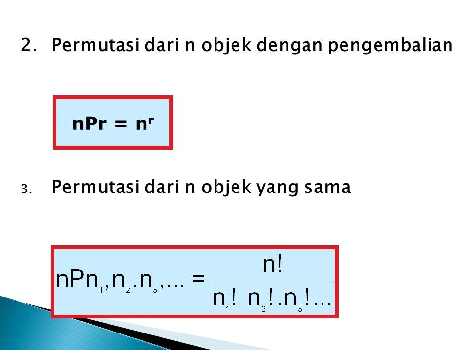 2.Permutasi dari n objek dengan pengembalian 3. Permutasi dari n objek yang sama nPr = n r