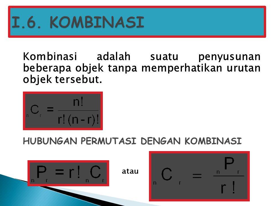 Kombinasi adalah suatu penyusunan beberapa objek tanpa memperhatikan urutan objek tersebut. HUBUNGAN PERMUTASI DENGAN KOMBINASI atau
