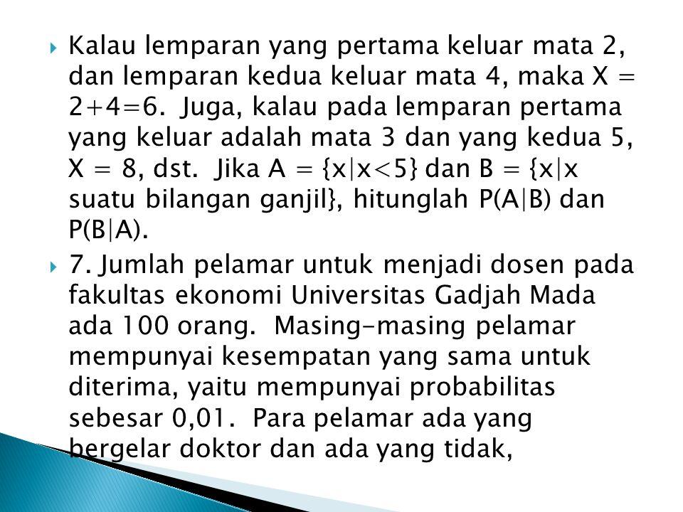 Kalau lemparan yang pertama keluar mata 2, dan lemparan kedua keluar mata 4, maka X = 2+4=6. Juga, kalau pada lemparan pertama yang keluar adalah ma