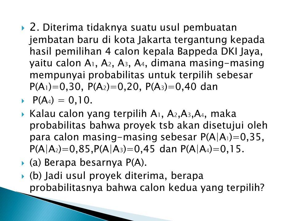  2. Diterima tidaknya suatu usul pembuatan jembatan baru di kota Jakarta tergantung kepada hasil pemilihan 4 calon kepala Bappeda DKI Jaya, yaitu cal