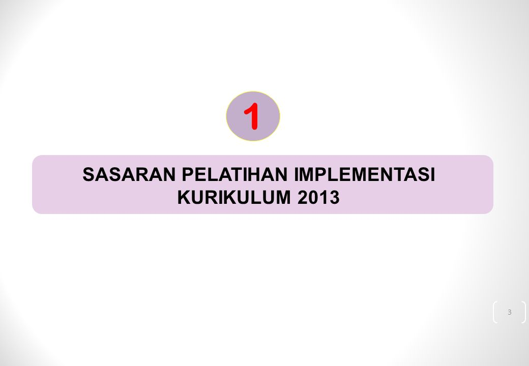 3 SASARAN PELATIHAN IMPLEMENTASI KURIKULUM 2013 1
