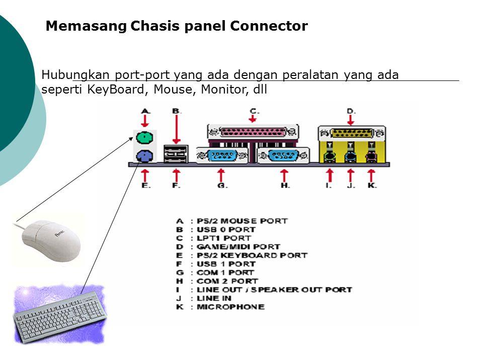 Menginstall Power Suply untuk MotherBoard Pasangkan kabel powersupply yang berwarna warni dari casing ke connector powersupply yang tersedia pada MotherBoard, dengan cara menekanconnector.