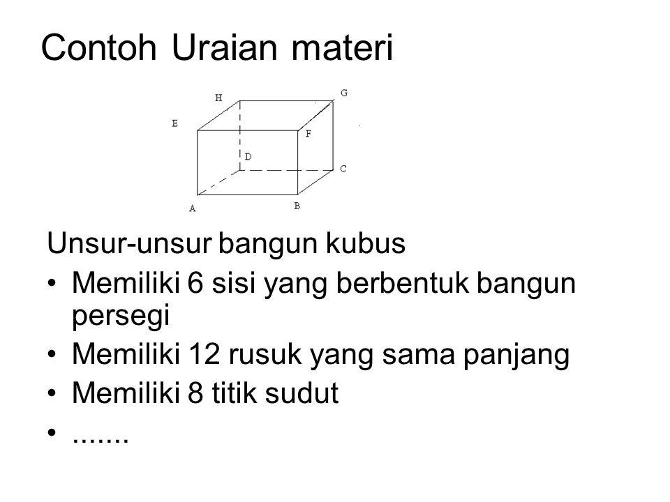 Contoh Uraian materi Unsur-unsur bangun kubus Memiliki 6 sisi yang berbentuk bangun persegi Memiliki 12 rusuk yang sama panjang Memiliki 8 titik sudut.......