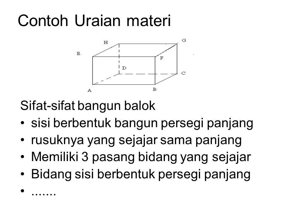 Contoh Uraian materi Sifat-sifat bangun balok sisi berbentuk bangun persegi panjang rusuknya yang sejajar sama panjang Memiliki 3 pasang bidang yang sejajar Bidang sisi berbentuk persegi panjang.......