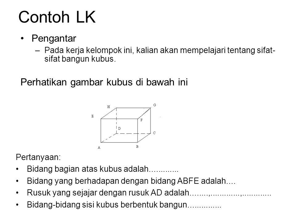 Contoh LK Pengantar –Pada kerja kelompok ini, kalian akan mempelajari tentang sifat- sifat bangun kubus.