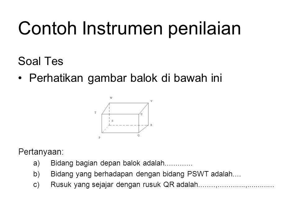 Contoh Instrumen penilaian Soal Tes Perhatikan gambar balok di bawah ini Pertanyaan: a)Bidang bagian depan balok adalah.............