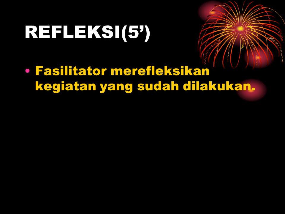 REFLEKSI(5') Fasilitator merefleksikan kegiatan yang sudah dilakukan.