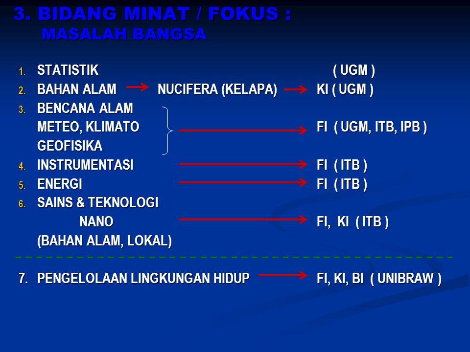 3.BIDANG MINAT / FOKUS : MASALAH BANGSA 1. STATISTIK ( UGM ) 2.