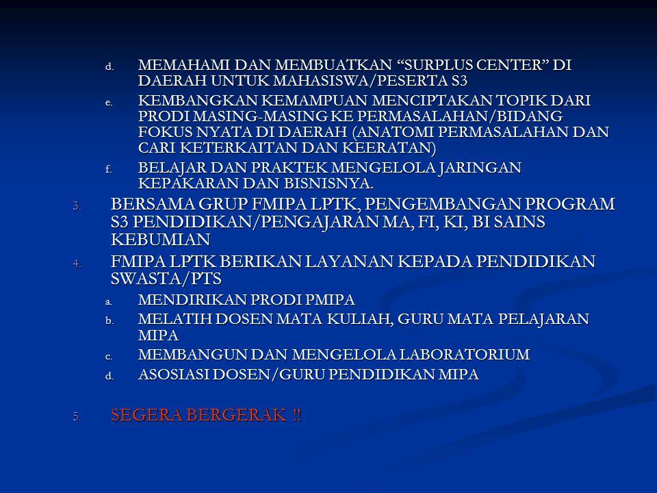 d.MEMAHAMI DAN MEMBUATKAN SURPLUS CENTER DI DAERAH UNTUK MAHASISWA/PESERTA S3 e.