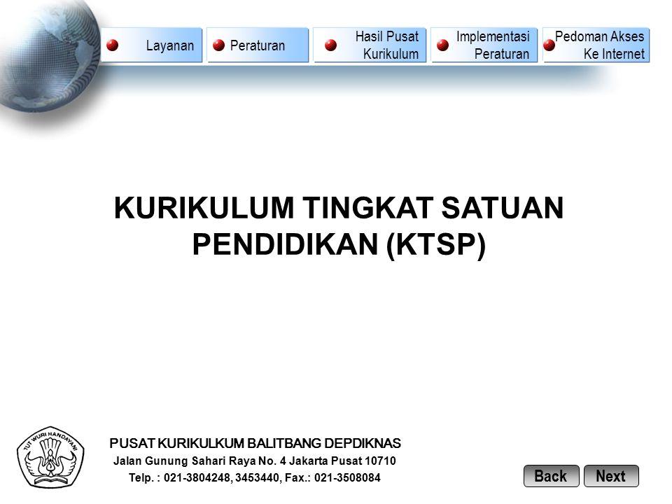 PUSAT KURIKULKUM BALITBANG DEPDIKNAS Jalan Gunung Sahari Raya No. 4 Jakarta Pusat 10710 Telp. : 021-3804248, 3453440, Fax.: 021-3508084 KURIKULUM TING