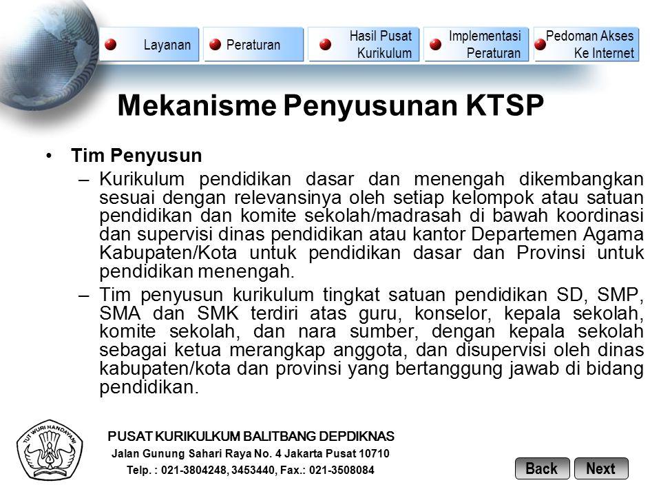 Mekanisme Penyusunan KTSP Tim Penyusun –Kurikulum pendidikan dasar dan menengah dikembangkan sesuai dengan relevansinya oleh setiap kelompok atau satu