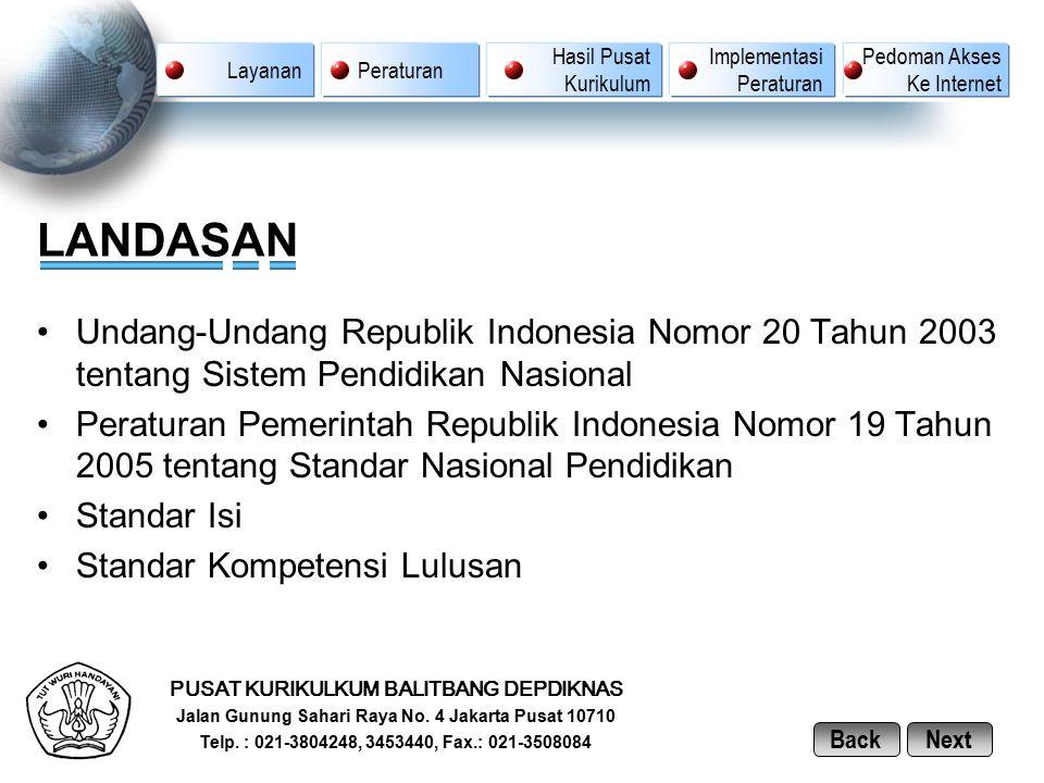 LANDASAN Undang-Undang Republik Indonesia Nomor 20 Tahun 2003 tentang Sistem Pendidikan Nasional Peraturan Pemerintah Republik Indonesia Nomor 19 Tahu