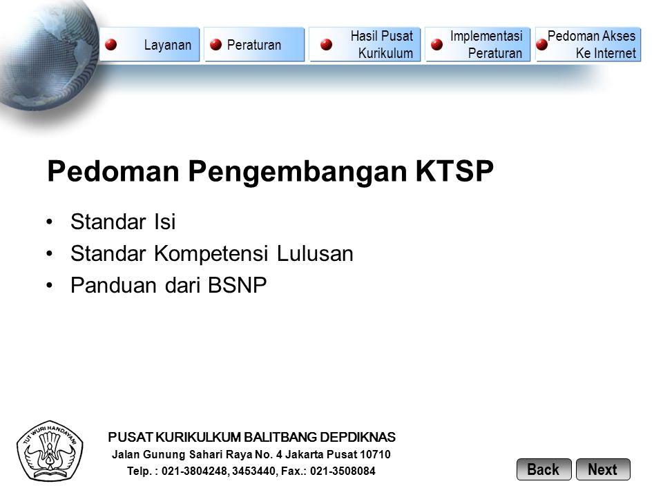 Pedoman Pengembangan KTSP Standar Isi Standar Kompetensi Lulusan Panduan dari BSNP PUSAT KURIKULKUM BALITBANG DEPDIKNAS Jalan Gunung Sahari Raya No. 4